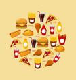 fast food set of icons menu unhealthy restaurant vector image vector image