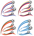 flag set whit soccer ball vector image vector image