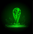 green neon soccer cup on black background vector image vector image