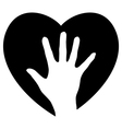 Helping Hand in the heart vector image vector image