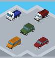 isometric car set of lorry armored freight and vector image vector image