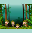 many soldiers in a jungle vector image vector image