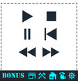 music button icon flat vector image vector image