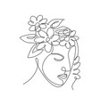 one single line drawing abstract face vector image vector image