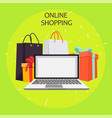 online shopping paper bag yellow empty ill vector image vector image