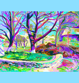 painting of natural village landscape vector image vector image