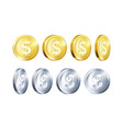 rotation metallic gold and silver coin template vector image
