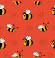 seamless pattern with bees and flowers vector image