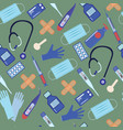 seamless pattern with equipment medicine vector image vector image
