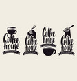set coffee logos or coffee house emblems vector image