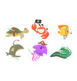 set sea animals in a hat and a pirate bandage vector image vector image