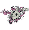 skull with vintage flower laye vector image vector image