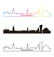 Stockholm skyline linear style with rainbow vector image vector image