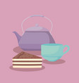 teapot with sweet cake portion vector image