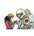 the fortune teller and an astronaut isolate on vector image vector image