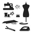 tools and materials sewing icon set isolated on vector image vector image