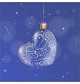 Transparent glass Christmas Heart Ball with white vector image vector image
