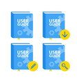 user guide book download icon set flat vector image vector image