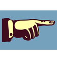 Vintage hand pointing finger retro vector image vector image