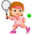 young girl playing tennis with a racket vector image vector image