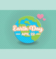 earth day text on globe paper art vector image