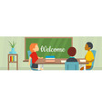 welcome school banner flat style vector image