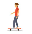 a young man with red shirt riding a skate board vector image