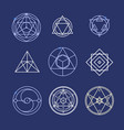alchemy geometry symbol thin line set vector image vector image