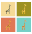 assembly flat icons nature cartoon giraffe vector image vector image