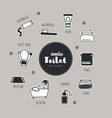 bathroom and toilet hand drawn doodle icons set vector image
