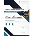 blue black elegance vertical certificate with vector image