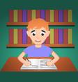 boy make homework concept background cartoon vector image