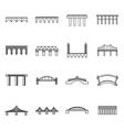 Bridge set icons thin line style vector image vector image