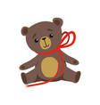 brown teddy bear with shiny eyes and red ribbon on vector image vector image
