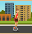 businesswoman riding on one wheel electric scooter vector image vector image