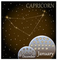 Calendar of the zodiac sign Capricorn vector image