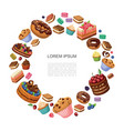 cartoon desserts round concept vector image vector image