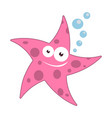 cartoon starfish with bubbles vector image vector image