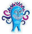Character monster flat crazy smiling blue m vector image vector image