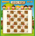 children on board game template vector image vector image