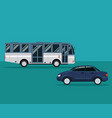 color background with bus and automobile vehicle vector image vector image