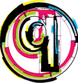 Colorful Grunge Font LETTER q vector image vector image