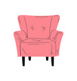comfortable pink armchair on wooden legs vector image vector image