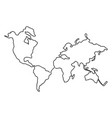 continuous line drawing world map one line map vector image vector image