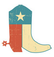 cowboy boots with texas flag decoration grunge vector image