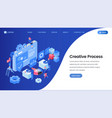 creative process landing page isometric template vector image vector image