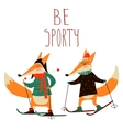 Cute foxes skiing vector image