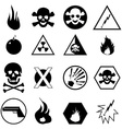Danger warning icons set vector image vector image