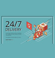 delivery service 24 7 landing page application vector image