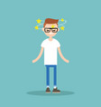 dizziness conceptual young nerd with stars vector image vector image